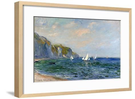 Cliffs and Sailboats at Pourville-Claude Monet-Framed Art Print