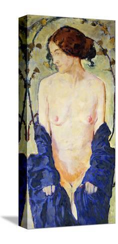 Standing Nude with Blue Robe, circa 1900-Kolomon Moser-Stretched Canvas Print