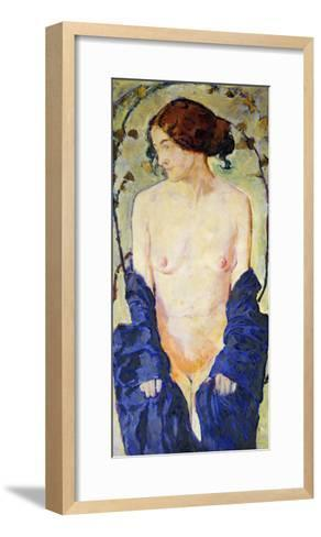 Standing Nude with Blue Robe, circa 1900-Kolomon Moser-Framed Art Print