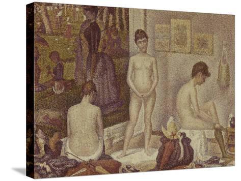 Les Poseuses Including a Reference to Dimanche Apres-Midi Sur la Grande Jatte, Umbrella-Georges Seurat-Stretched Canvas Print
