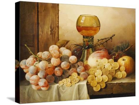 Grapes, Apple, Plums and Peach with Hock Glass on Draped Ledge-Edward Ladell-Stretched Canvas Print
