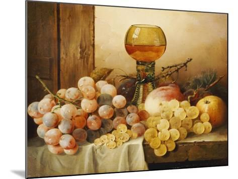 Grapes, Apple, Plums and Peach with Hock Glass on Draped Ledge-Edward Ladell-Mounted Giclee Print