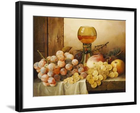 Grapes, Apple, Plums and Peach with Hock Glass on Draped Ledge-Edward Ladell-Framed Art Print