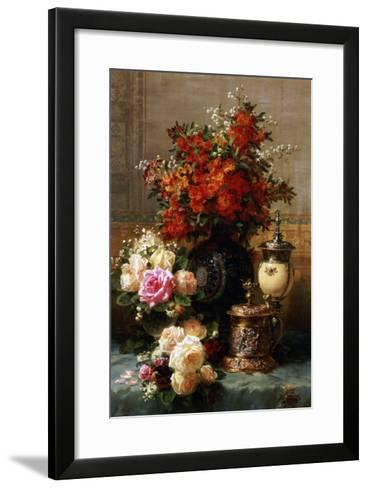 Still Life of Roses and Other Flowers-Jean Baptiste Claude Robie-Framed Art Print