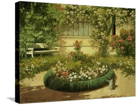 A Sunlit Flower Garden-Laszlo Neogrady-Stretched Canvas Print