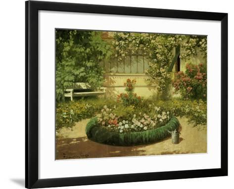 A Sunlit Flower Garden-Laszlo Neogrady-Framed Art Print