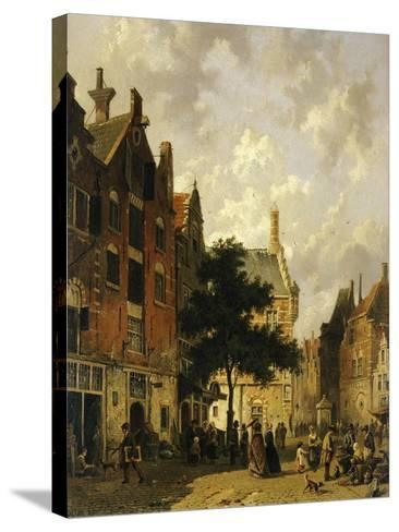 A Street Scene with Numerous Figures-Adrianus Eversen-Stretched Canvas Print