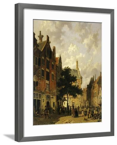 A Street Scene with Numerous Figures-Adrianus Eversen-Framed Art Print