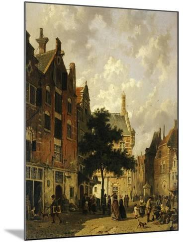A Street Scene with Numerous Figures-Adrianus Eversen-Mounted Giclee Print