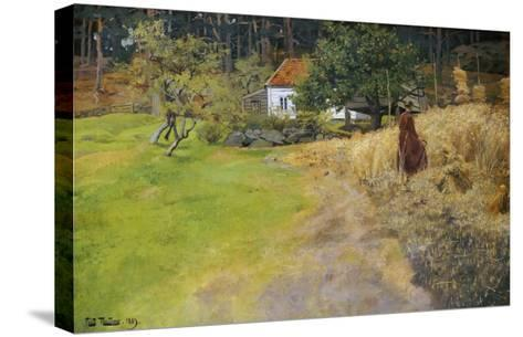 Haymaking, 1889-Fritz Thaulow-Stretched Canvas Print