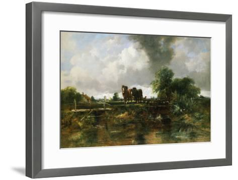 A Wooded River Landscape with Horses Working a Lock-Frederick Walters Watts-Framed Art Print