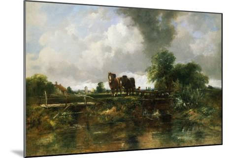 A Wooded River Landscape with Horses Working a Lock-Frederick Walters Watts-Mounted Giclee Print
