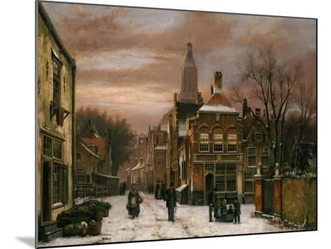 A Wintery Scene: a Dutch Street with Numerous Figures-Willem Koekkoek-Mounted Giclee Print