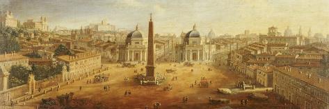 Piazza Del Popolo, Rome- Vanvitelli (Gaspar van Wittel)-Stretched Canvas Print