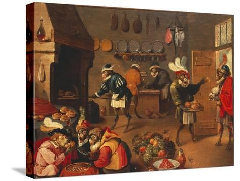 The Monkey's Cooks-David Teniers the Younger-Stretched Canvas Print