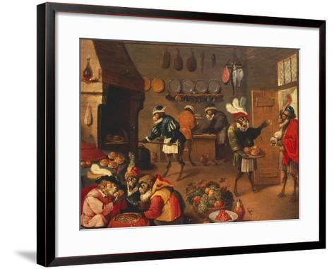 The Monkey's Cooks-David Teniers the Younger-Framed Art Print