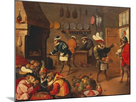 The Monkey's Cooks-David Teniers the Younger-Mounted Giclee Print
