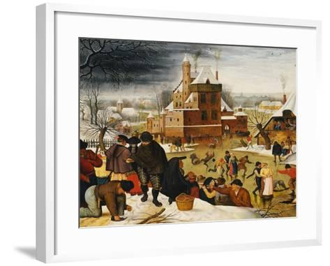 Townsfolk Skating on a Castle Moat-Pieter Bruegel the Elder-Framed Art Print