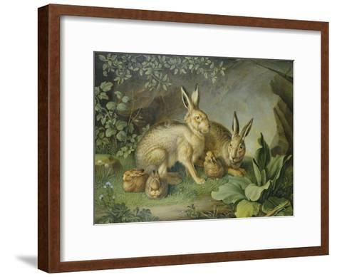 Hares and Leverets in a Rocky Lair-Johann Wenzel Peter-Framed Art Print