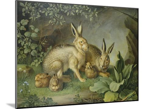 Hares and Leverets in a Rocky Lair-Johann Wenzel Peter-Mounted Giclee Print
