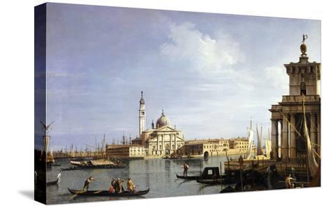 The Island of San Giorgio Maggiore, Venice with the Punta Della Dogana and Numerous Vessels-Canaletto-Stretched Canvas Print