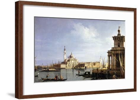 The Island of San Giorgio Maggiore, Venice with the Punta Della Dogana and Numerous Vessels-Canaletto-Framed Art Print