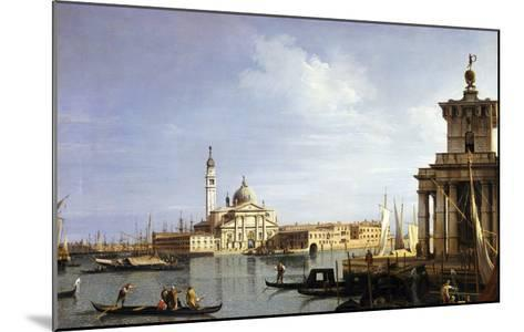 The Island of San Giorgio Maggiore, Venice with the Punta Della Dogana and Numerous Vessels-Canaletto-Mounted Giclee Print