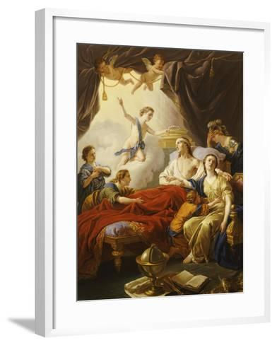 Dauphin the Royal Highness Dying and Duc Who Presents the Crown of Immortality-Jean-francois Lagrenee-Framed Art Print