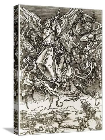 St. Michael Fighting the Dragon-Albrecht D?rer-Stretched Canvas Print