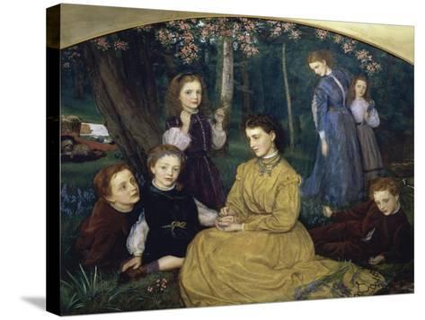 A Birthday Picnic-Arthur Hughes-Stretched Canvas Print