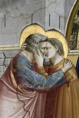 Meeting at the Golden Gate, Detail-Giotto di Bondone-Stretched Canvas Print
