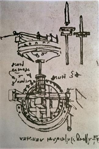 Mechanical Drawings No.3-Leonardo da Vinci-Stretched Canvas Print