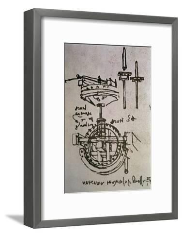 Mechanical Drawings No.3-Leonardo da Vinci-Framed Art Print