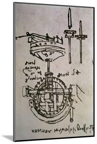 Mechanical Drawings No.3-Leonardo da Vinci-Mounted Giclee Print