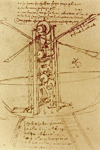 Drawing of a Flying Machine-Leonardo da Vinci-Stretched Canvas Print