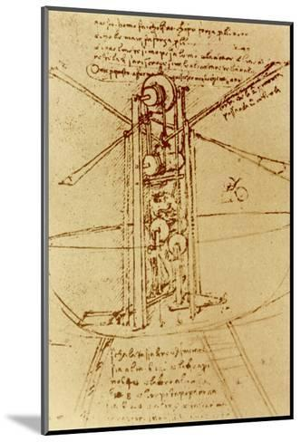 Drawing of a Flying Machine-Leonardo da Vinci-Mounted Giclee Print