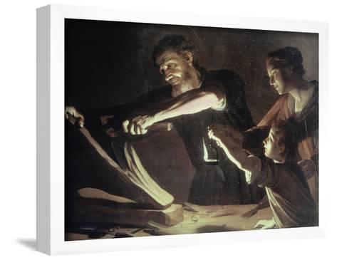 Holy Family in the Carpentery Shop-Gerrit van Honthorst-Framed Art Print