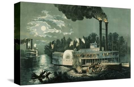Wooding-up on the Mississippi-Currier & Ives-Stretched Canvas Print