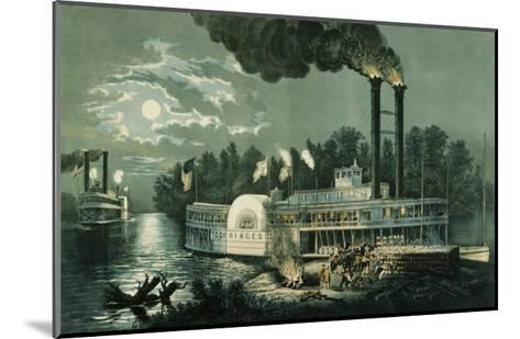 Wooding-up on the Mississippi-Currier & Ives-Mounted Giclee Print