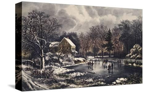 Early Winter-Currier & Ives-Stretched Canvas Print