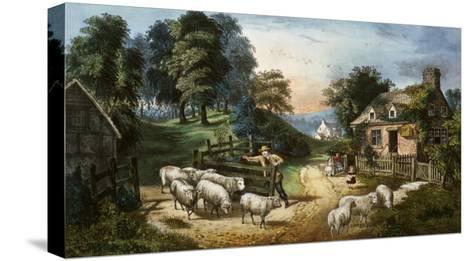 Roadside Cottage-Currier & Ives-Stretched Canvas Print