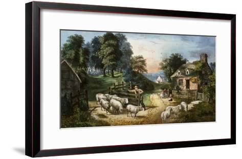 Roadside Cottage-Currier & Ives-Framed Art Print
