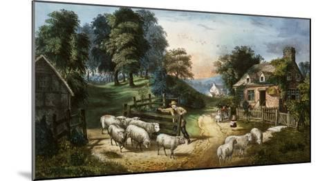 Roadside Cottage-Currier & Ives-Mounted Giclee Print