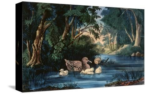 The Pond in the Woods-Currier & Ives-Stretched Canvas Print