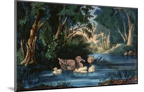 The Pond in the Woods-Currier & Ives-Mounted Giclee Print