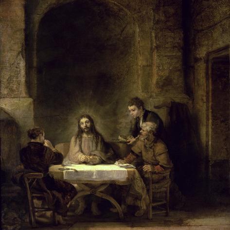 Supper at Emmaus-Rembrandt van Rijn-Stretched Canvas Print