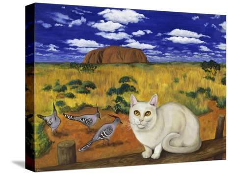 White Blue Russian in Front of Ayer's Rock-Isy Ochoa-Stretched Canvas Print