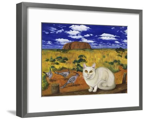 White Blue Russian in Front of Ayer's Rock-Isy Ochoa-Framed Art Print