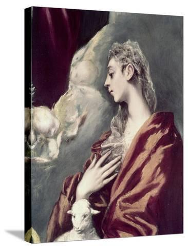 Madonn and Child with St. Agnes and St. Martina-El Greco-Stretched Canvas Print