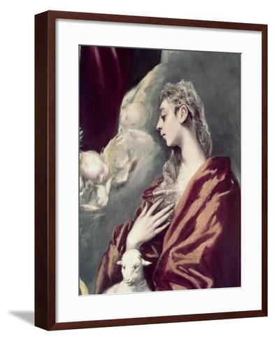 Madonn and Child with St. Agnes and St. Martina-El Greco-Framed Art Print